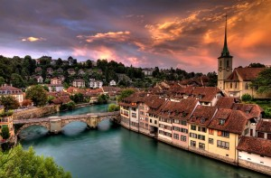 Idyllischer Sonnenuntergang in Bern