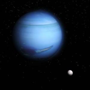 Der Planet Neptun und sein Mond Triton