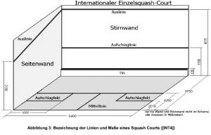 Squash Spielfeld und Linien