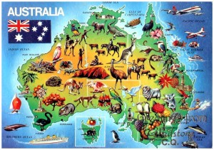 Australien Karte - Alte Postkarte