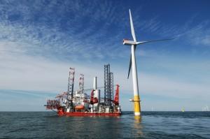 Arbeiten am größten Windpark der Welt
