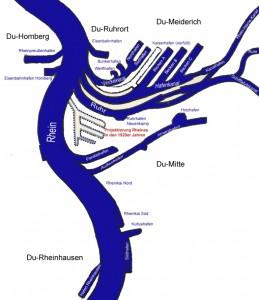 Karte des Duisburger Binnenhafen