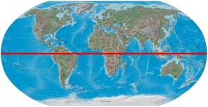 Weltkarte mit Äquator