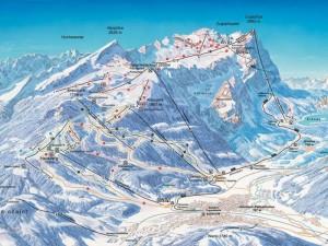 Die Skigebietskarte der Zugspitze